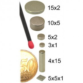 Magnet aus Neodym-Eisen-Bor Ø 3mm x 1mm