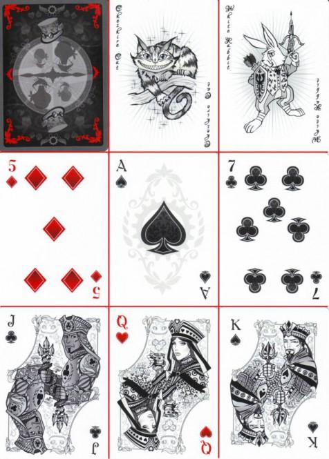Alice of Wonderland Spielkarten - Silver Edition