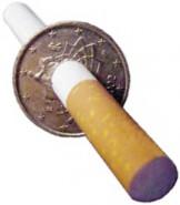 Zigarette durch 50-Cent-Münze